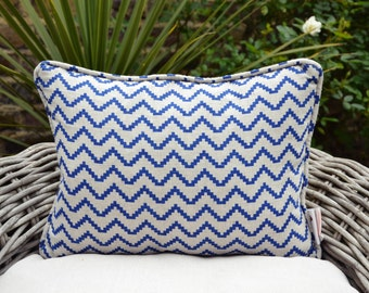 Blue Zig-Zag Pillow Cover