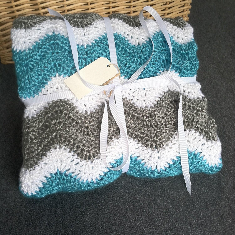Crochet Aqua And Grey Chevron Baby Blanket By