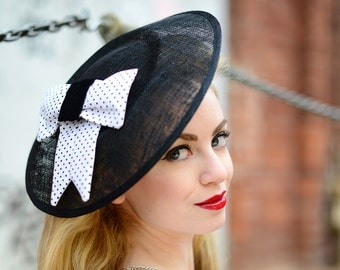Fascinator black white Large