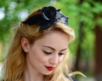 Leather Hairband Black Rose Halloween
