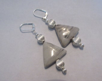 Silver & Marble Beaded Earrings