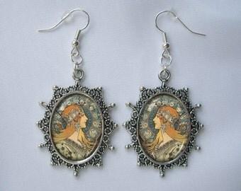 Alphonse Mucha Silver earrings art pendants