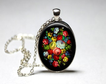 Zhostovo Russian Jewelry Zhostovo Russian Folk Art Zhostovo Necklace Russian Flowers