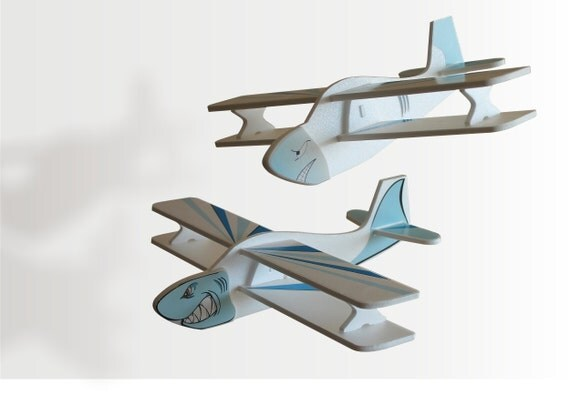Plane Air jet Airplane Handmade Aeroplane Gift for a boy Blue Sharks Aircraft Children planes Ocean decor party Birthday party idea Set of 2