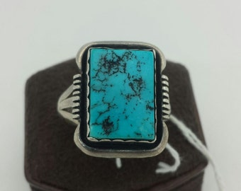 Blue Turquoise Sterling Silver Ring size 12