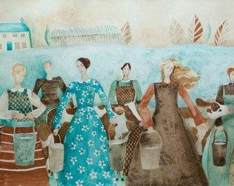 8 Maids-a-Milking II, Art card, watercolours, Christmas