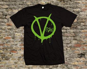 V for Vegan T Shirt 100% cotton - 1980