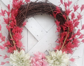Bright summer fun pink and green grapevine wreath