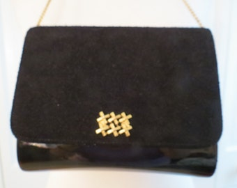 REDUCED!!  Vintage Lewis Black Suede/Patent Mini Shoulder Bag/Clutch – So Stylish!