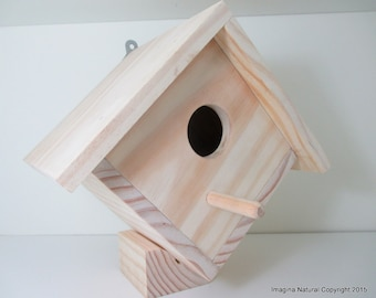 Wooden Natural handmade birdhouse and Nestbox - Un painted - Non Toxic - Bird Box - Ready to Decorate or Ready to use!
