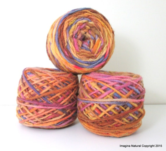 Limited Edition Handspun Hand dyed yarn Pure Bulky Chilean Wool Knitting Multicolour Araucania Chunky Skein Purple Brown Yellow 100g 3.5oz
