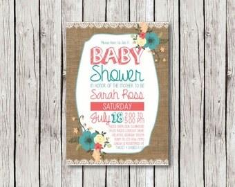 Rustic Baby Shower Invite - Girl - Burlap