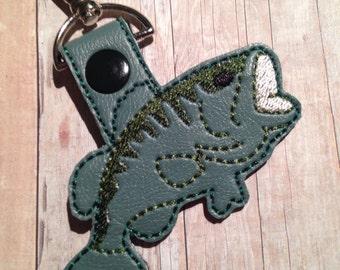 Bass Fish Key Chain / Bag Tag / Zipper Pull