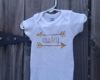 Baby girl personalized onesie, aztec arrow onesie, baby shower gift, bow and arrow onesie