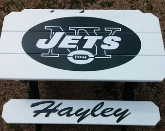 Custom New York Jets Personalized Kids 3ft Wood BBq Picnic Table Patio Furniture