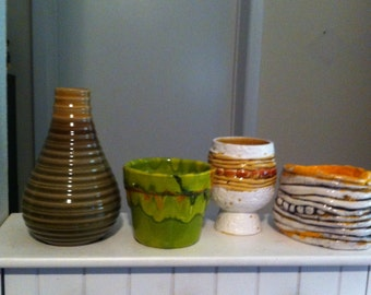 Pottery Splash! Four great pieces for one price! 7.5 inches on vase height