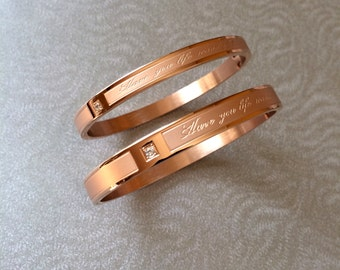 Couple Bangle Bracelet 18K Rose Gold Have You Life Wonderful Bangle Couple Men Women Valentine's Day Wedding Bridal Bridesmaid Birthday Gift