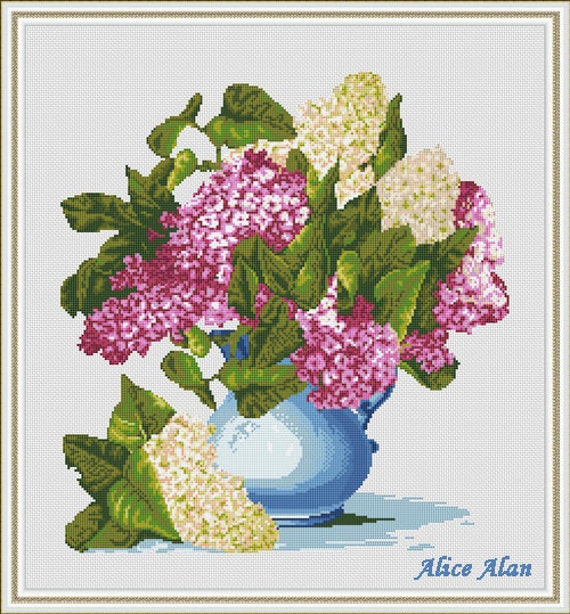 cross stitch pattern flowers lilac in blue vase floral