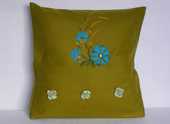 Mustard Green Pillow Cover Throw Pillow 16x16 by YourHomeMarket