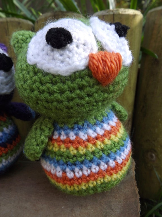 Crochet Beach Bag Pattern : Crochet Stripy Green Baby Owl. Bean bag Owl. by ...