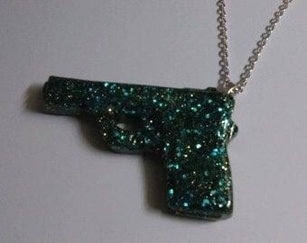 Dark Green Glitter Gun Necklace