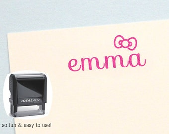 Personalized Kids Gifts, Hair Bow Self Inking Name Stamp, Personalized Birthday Gift, Kids Name Stamp, Custom Name Stamp, AK108