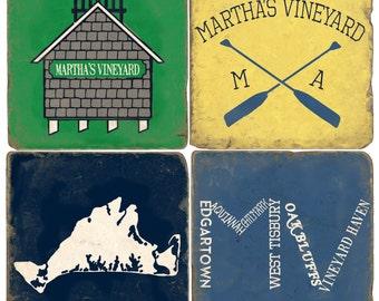 Martha's Vineyard Italian Marble Coasters
