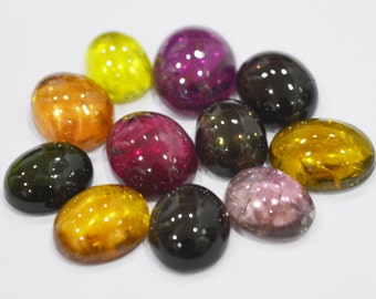 Lot of 11 pic. of Natural multi colour tourmaline 8X10 to 10X14 mm approx. oval loose gemstone cabochon