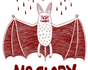 No Guts No Glory Bat - Risograph print