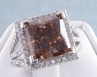 6.15 ctw Princess Cut Diamond Ring Natural Chocolate/SI1 Clarity Enhanced Diamond