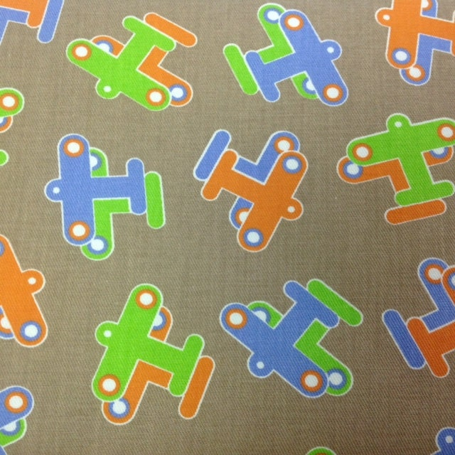 Airplane fabric planes fabric cotton print by 3grandsboutique for Airplane print cotton fabric