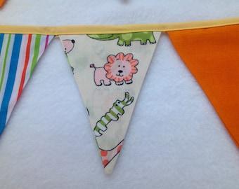 Animal Bunting - 21 Flag Long Bunting -Fabric Bunting -Fabric Banner