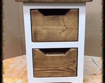 Pair of Shabby Chic Handmade Wood Bedside Cabinets