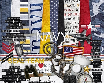 "US Navy Scrapbook Kit - ""In the Navy"" digital scrapbooking kit for soliders, military, and Navy scrapbook projects - red, white, blue colors"