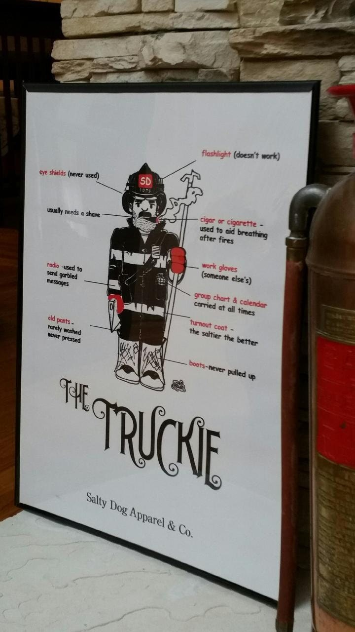 truckie firefighter print artwork firefighter