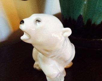 White Polar Bear Figurine, Russian Bear, Lomonosov USSR White Bear, Russian Figurine