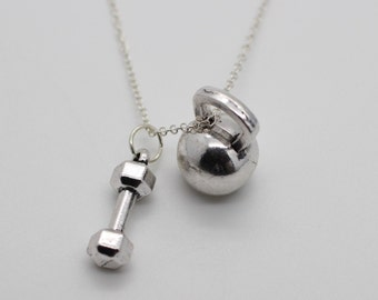 DUMBBELL & KETTLEBELL NECKLACE - Crossfit Jewelry Fitness Charm Lifting Weights