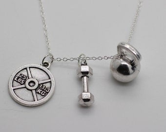 WEIGHTLIFTING NECKLACE - Dumbbell Charm Pendant Kettlebell Crossfit Jewelry Gym
