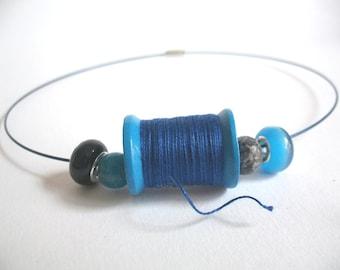 Spool sewing thread spool necklace Choker blue