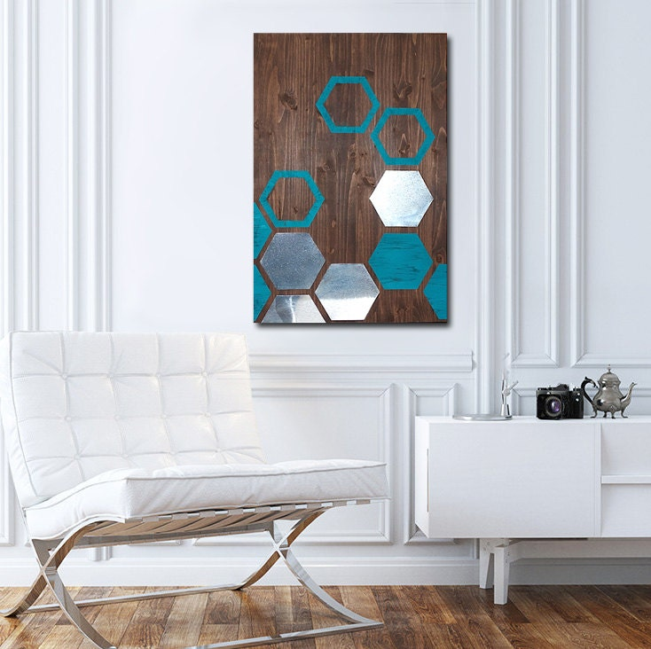 Contemporary Wood Wall Decor : Modern painting wood wall art metal