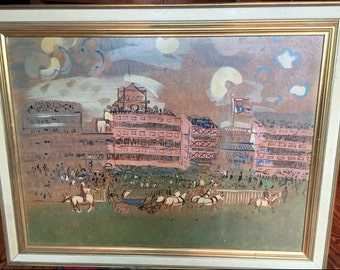 Vintage Raoul Dufy  Framed Screen Print on Particle board Reproduction Track at Ascot