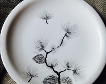 Harkerware Bread Plate, 1950s Dinnerware - Pine Cone Pattern,Harkerware Pine Cone