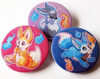 3 Kitsu Fox pin Badges