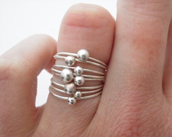 Silver ring, Nuggets, 8 stack rings