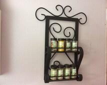 "Handmade wrought iron wall spice rack 12""x 18"""