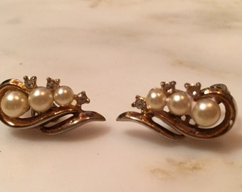 Vintage Crown Trifari pearl and rhinestone earrings.