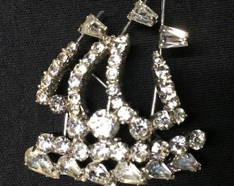 Vintage rhinestone sailboat brooch