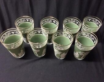 Set of eight 8 vintage green hellenic jasperware tumblers