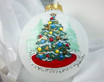 Christmas Tree Ornament, Trimmed Tree, Red Green, Glass Ornament, Free Inscription, Family Gift, Christmas Keepsake