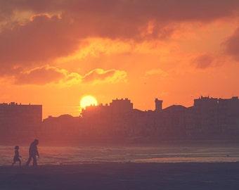 sunset photography sunrise sea beach photograph fine art wall art yellow orange home decor silhouette print dark blue violet purple prints